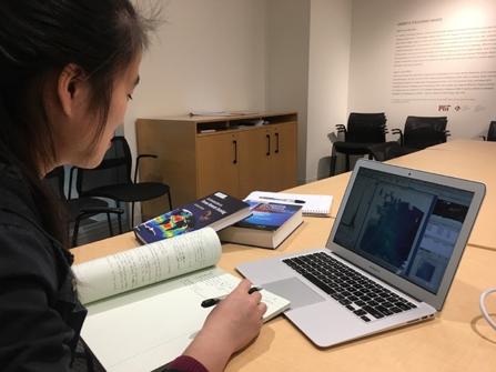 Student Sabrina Liu researching satellite image processing at MIT Sea Grant.